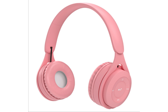 Macaroon Volume Limited 85dB Kids Headphone Bluetooth Wireless Over Ear Foldable Stereo Sound Noise Protection Headset with AUX 3.5mm Cord Microphone for Boys Girls Cellphone Pad TV PC Notebook Pink