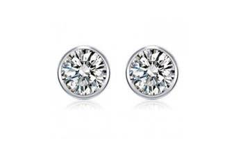 Women S925 Silver Round Cut Cubic Zirconia  Silver Stud Earrings