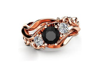 Gold Plated Black Cubic Zirconia Floral Ring