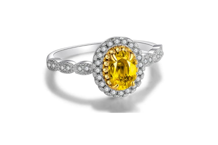 18K White Gold Plated Yellow Cubic Zirconia Ring 9
