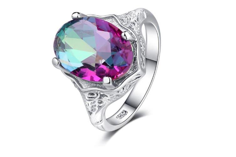 Women Mystic Rainbow Topaz Halo Engagement Ring