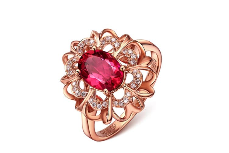 18K Rose Gold Plated Flower Ring with Red Stone