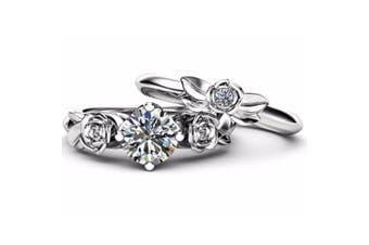 Women Cubic Zirconia Rose Flower Ring