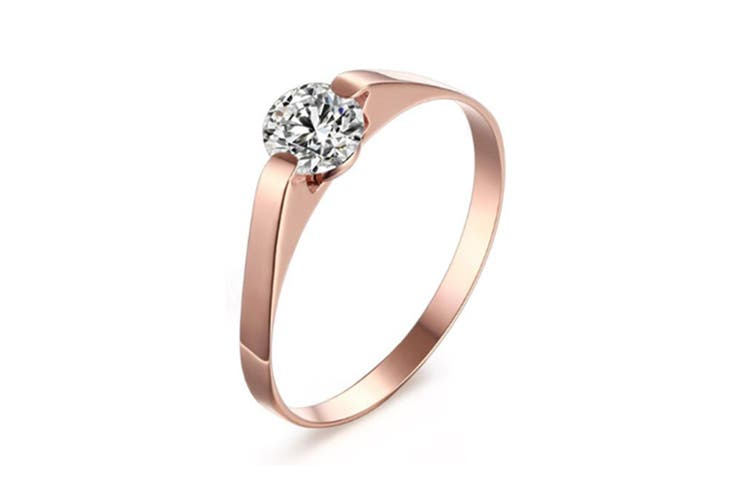 Womens Stainless Steel Cubic Zirconia Tension Set Rose Gold Plated Brilliant Wedding Engagement Ring