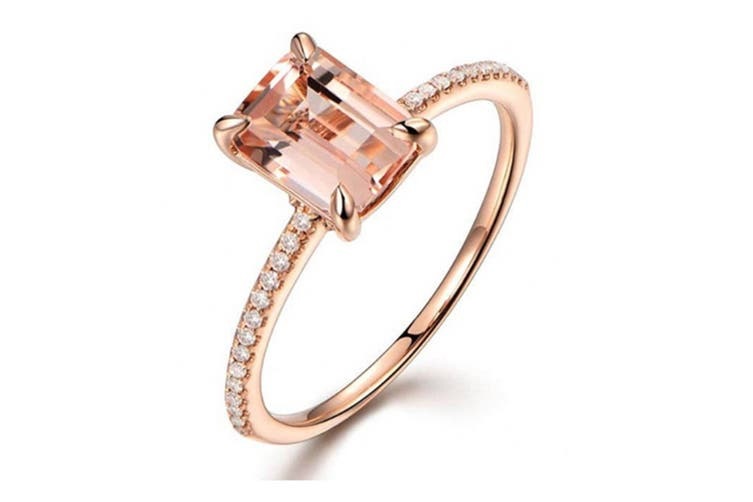Womens  Cubic Zirconia Rose Gold Plated Ring