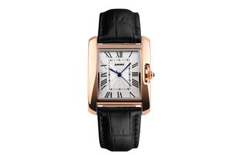 Womens Analog Quartz Wristwatch Roman Numeral Business Casual Watch Black