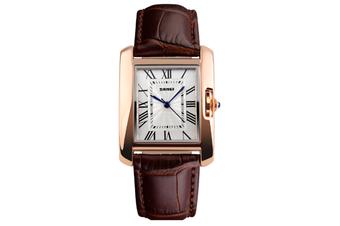 Womens Analog Quartz Wristwatch Roman Numeral Business Casual Watch Coffee