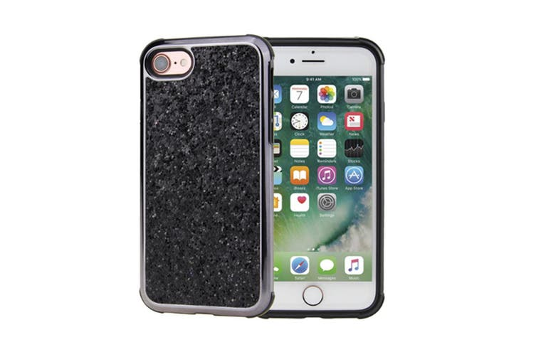 Luxury Bling Sparkly Rhinestone Crystal Hard PC & Soft TPU Inner Shockproof Chrome Bumper Protective Case for iPhone  iphoneX