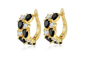 Women's Classic 18K Gold Plated Colorful CZ Stone Stud Earrings Black
