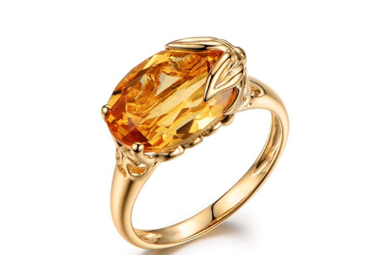 Wome Gold Tone Yellow cubic Zirconia Ring