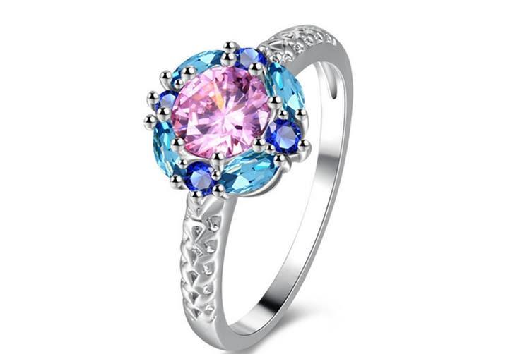 Blue CZ, Multi Gemstone Rhodium Plated Silver Floral Fashion Ring For Women