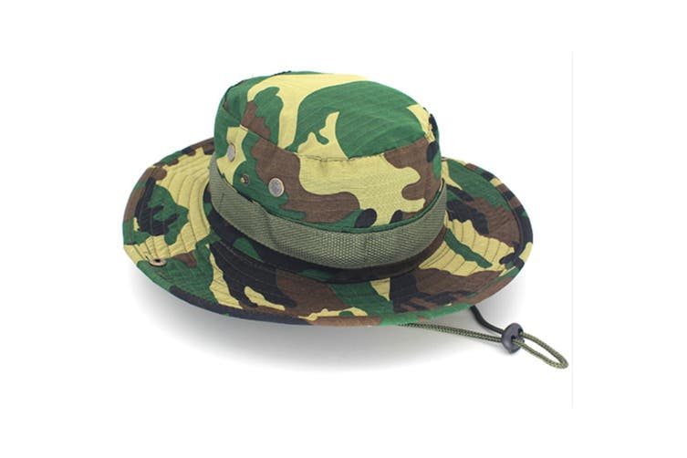Outdoor Fishing Wide Caps, Canvas Boonie Hunting Fishing Caps JungleGreen