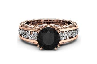 Women Rose Gold Tile Topaz Wedding Engagement Floral Ring