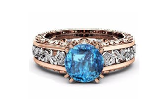 Women Rose Gold Tile Topaz Wedding Engagement Floral Ring