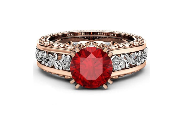 Women Rose Gold Tile Topaz Wedding Engagement Floral Ring 10