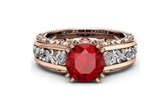 Women Rose Gold Tile Topaz Wedding Engagement Floral Ring 5