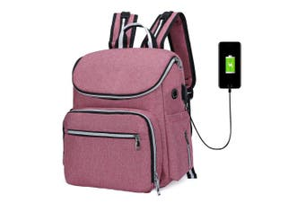 Mummy Maternity Nappy Bag with USB Interface pink