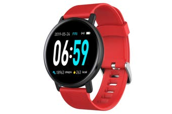 IP67 Smart Bracelet Women Men Fitness Tracker Watch Heart Rate Blood Pressure Blood Oxygen Step Counter Calorie Counter Sleep Monitoring red