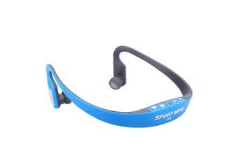 Portable Sport Wireless TF FM Radio Headset Headphone Earphone Music MP3 Player with Mini USB Port-blau