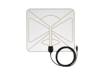 Flat HD TV Digital Indoor Antenna HDTV High Gain 35 Miles Range ATSC DVB ISDB with 10ft High Performance Coax Cable-tr