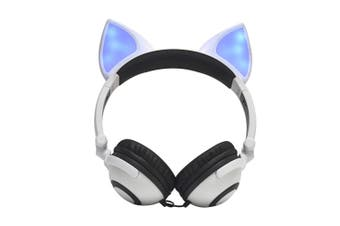 LX-X109 Foldable Fox Ear Headphones Flashing LED Lights for PC Laptop 3.5mm AUX Over-ear Headset Adjustable Headband Kids Earphone-white