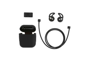 4in1 Silicone Protective Cover Compatible with Apple AirPods Charging Case Watch Band Holder Anti-lost Straps Earphone Protector Accessories-black