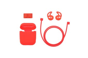 4in1 Silicone Protective Cover Compatible with Apple AirPods Charging Case Watch Band Holder Anti-lost Straps Earphone Protector Accessories-red