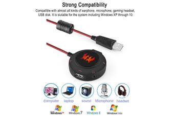 KOTION EACH S2 USB 2.0 Sound Card USB Hub Headphones Microphone Adapter 3D Surround Sound for PC Notebook Gaming Headphones Plug and Play