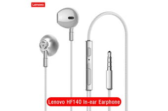 Lenovo HF140 Wired Headphones Metal In-ear Earphone with Mic Noise Cancelling 3.5mm Jack Stereo Music Headset for Smartphone MP3 PC-white