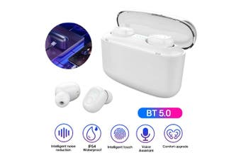 G5S TWS Wireless BT Earphone Mini Binaural In-Ear 6D HiFi Sport Earbuds LED Indicator Light IP54 Waterproof Earphone with Charging Case-white