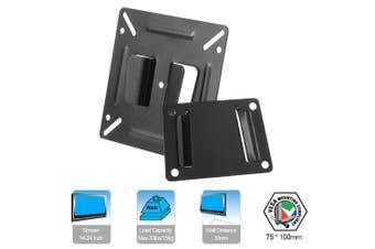 C2 TV Wall Mount Bracket for Most 14-24 Inch LED LCD Plasma Flat Screen Monitor Max.33lbs/15kg Load Capacity Fixed Mount Black