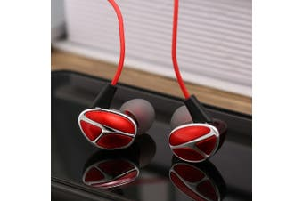 Q7 3.5mm In-ear Sport Headphone with Mic Line Control IPX4 Waterproof Headphones Dynamic Headset Heavy Bass Earphone for Phones Tablet Laptops-red