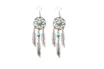 Turquoise Bead Inlay Dangle Dangle Drop Hook Earrings Silver
