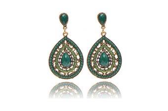 Simple Vintage Women Long Waterdrop-shaped Drop Hollow Out Earings Green
