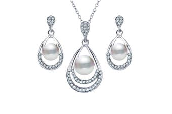 Silver Plated Water-drop Pendant Necklace Dangle Earrings Set Wedding Silver