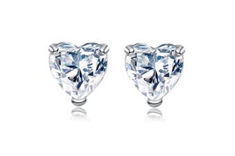 Heart Stud Earrings S925 Sterling Silver Birthstone CZ Earrings Crystal