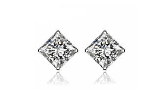 925 Sterling Silver Square Cubic Zirconia Stud Earrings 6mm