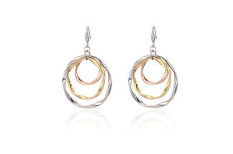 Three-Tone Gold Triple Hoop Earrings Delicate Circle Dangle Earring 3colors