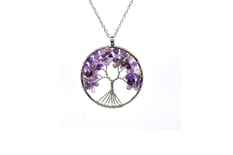 Tree of Life 7 Chakras Handmade Gemstone Amethyst Necklace Purple