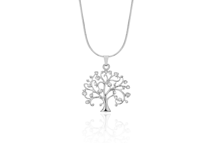 Celtic Tree of Life Pendant Necklace with CZ Crystal Girls Long Chain Silver