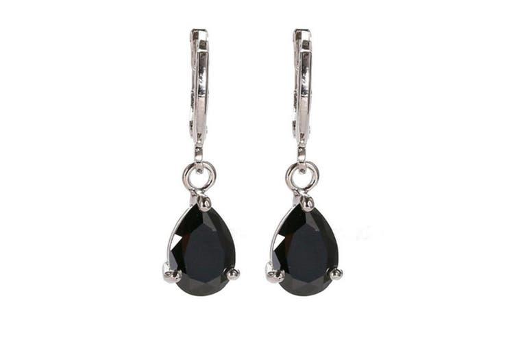 925 Silver Waterdrop Cut Amethyst Dangle Drop Earrings Black