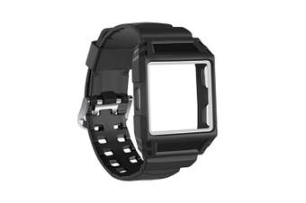 TPU Rugged Protective Case with Band for Fitbit Ionic Shockproof BlackWhite