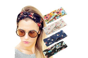 4 Pack Women Headband Boho Floal Style Criss Cross Head Wrap Hair Band Random