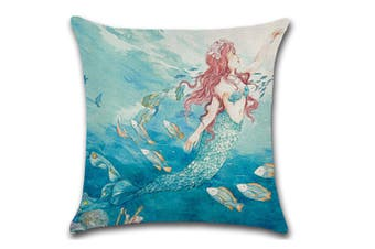 Mermaid Square Cushion Covers Decorative Throw Pillow Case Cushion Cover 1