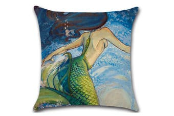 Mermaid Square Cushion Covers Decorative Throw Pillow Case Cushion Cover 2