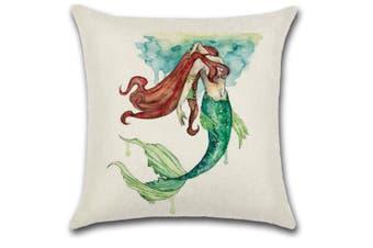 Mermaid Square Cushion Covers Decorative Throw Pillow Case Cushion Cover 4