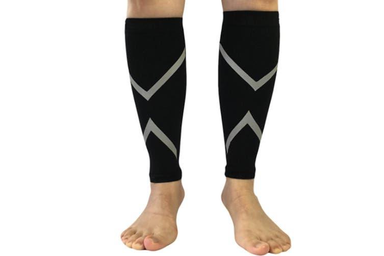 Reflective Calf Compression Sleeve for Men & Women (20-30mmhg) L