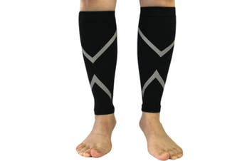 Reflective Calf Compression Sleeve for Men & Women (20-30mmhg) XL