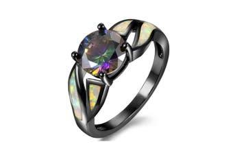 Rhodium Plated Fire Opal Cubic Zircon Wedding Engagement Anniversary Ring 9