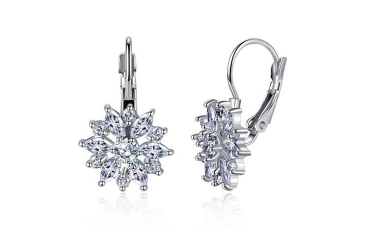 Rose Gold Zircon Ear Buckle Earrings  Silver